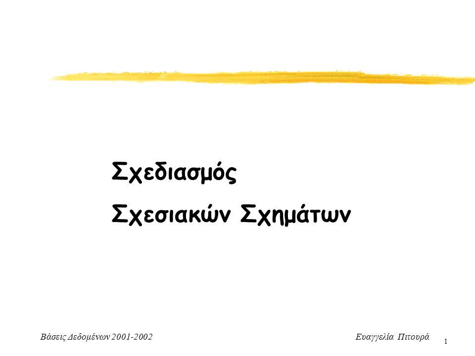 Βάσεις Δεδομένων 2001-2002 Ευαγγελία Πιτουρά 2 Σχεδιασμός Σχεσιακών Σχημάτων Σχεδιασμός καλών σχεσιακών σχημάτων Μη τυπικές - γενικές κατευθύνσεις Θεωρία κανονικών μορφών που θα βασίζεται στις συναρτησιακές εξαρτήσεις