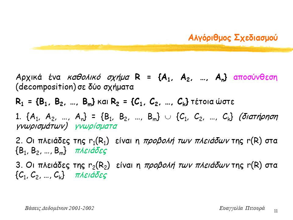 Βάσεις Δεδομένων 2001-2002 Ευαγγελία Πιτουρά 11 Αλγόριθμος Σχεδιασμού Αρχικά ένα καθολικό σχήμα R = {A 1, A 2, …, A n } αποσύνθεση (decomposition) σε δύο σχήματα R 1 = {B 1, B 2, …, B m } και R 2 = {C 1, C 2, …, C k } τέτοια ώστε 1.