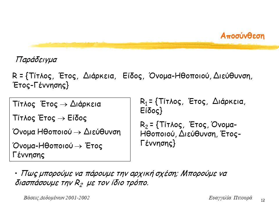 Βάσεις Δεδομένων 2001-2002 Ευαγγελία Πιτουρά 12 Αποσύνθεση R = {Τίτλος, Έτος, Διάρκεια, Είδος, Όνομα-Ηθοποιού, Διεύθυνση, Έτος-Γέννησης} Τίτλος Έτος  Διάρκεια Τίτλος Έτος  Είδος Όνομα Ηθοποιού  Διεύθυνση Όνομα-Ηθοποιού  Έτος Γέννησης Παράδειγμα R 1 = {Τίτλος, Έτος, Διάρκεια, Είδος} R 2 = {Τίτλος, Έτος, Όνομα- Ηθοποιού, Διεύθυνση, Έτος- Γέννησης} Πως μπορούμε να πάρουμε την αρχική σχέση; Μπορούμε να διασπάσουμε την R 2 με τον ίδιο τρόπο.