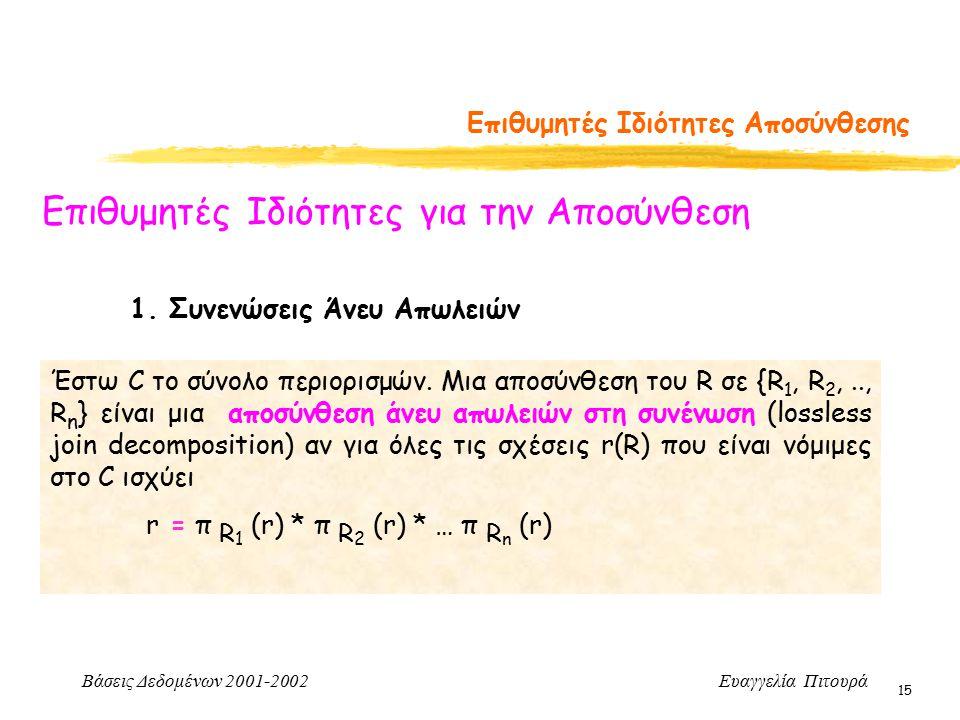 Βάσεις Δεδομένων 2001-2002 Ευαγγελία Πιτουρά 15 Επιθυμητές Ιδιότητες Αποσύνθεσης Επιθυμητές Ιδιότητες για την Αποσύνθεση 1.