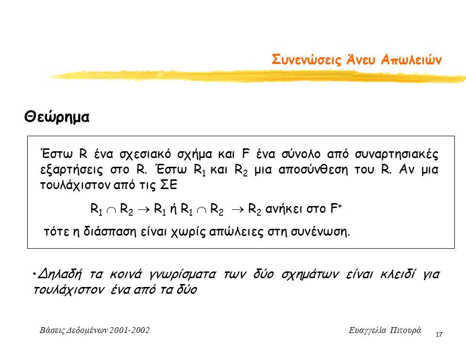 Βάσεις Δεδομένων 2001-2002 Ευαγγελία Πιτουρά 17 Συνενώσεις Άνευ Απωλειών Έστω R ένα σχεσιακό σχήμα και F ένα σύνολο από συναρτησιακές εξαρτήσεις στο R.