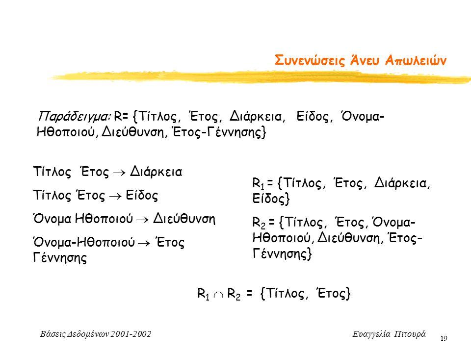 Βάσεις Δεδομένων 2001-2002 Ευαγγελία Πιτουρά 19 Συνενώσεις Άνευ Απωλειών Παράδειγμα: R= {Τίτλος, Έτος, Διάρκεια, Είδος, Όνομα- Ηθοποιού, Διεύθυνση, Έτ