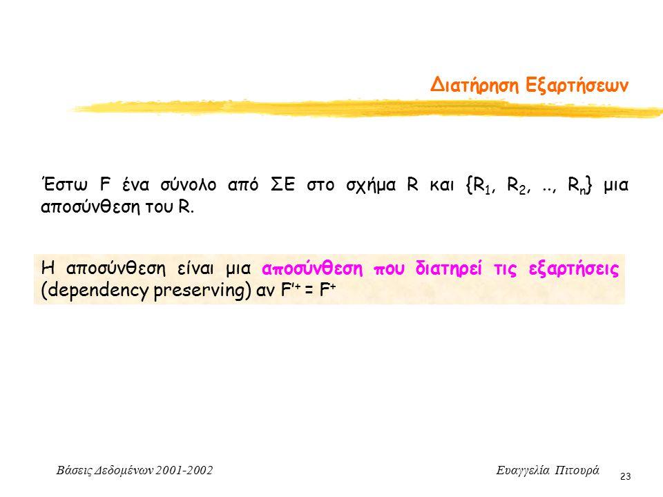 Βάσεις Δεδομένων 2001-2002 Ευαγγελία Πιτουρά 23 Διατήρηση Εξαρτήσεων Η αποσύνθεση είναι μια αποσύνθεση που διατηρεί τις εξαρτήσεις (dependency preserving) αν F' + = F + Έστω F ένα σύνολο από ΣΕ στο σχήμα R και {R 1, R 2,.., R n } μια αποσύνθεση του R.