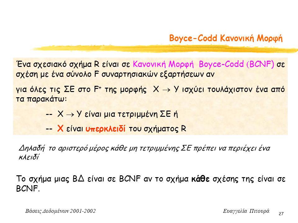 Βάσεις Δεδομένων 2001-2002 Ευαγγελία Πιτουρά 27 Boyce-Codd Κανονική Μορφή Ένα σχεσιακό σχήμα R είναι σε Κανονική Μορφή Boyce-Codd ( BCNF) σε σχέση με ένα σύνολο F συναρτησιακών εξαρτήσεων αν για όλες τις ΣΕ στο F + της μορφής X  Y ισχύει τουλάχιστον ένα από τα παρακάτω: -- X  Y είναι μια τετριμμένη ΣΕ ή -- X είναι υπερκλειδί του σχήματος R Δηλαδή το αριστερό μέρος κάθε μη τετριμμένης ΣΕ πρέπει να περιέχει ένα κλειδί Το σχήμα μιας ΒΔ είναι σε BCNF αν το σχήμα κάθε σχέσης της είναι σε BCNF.