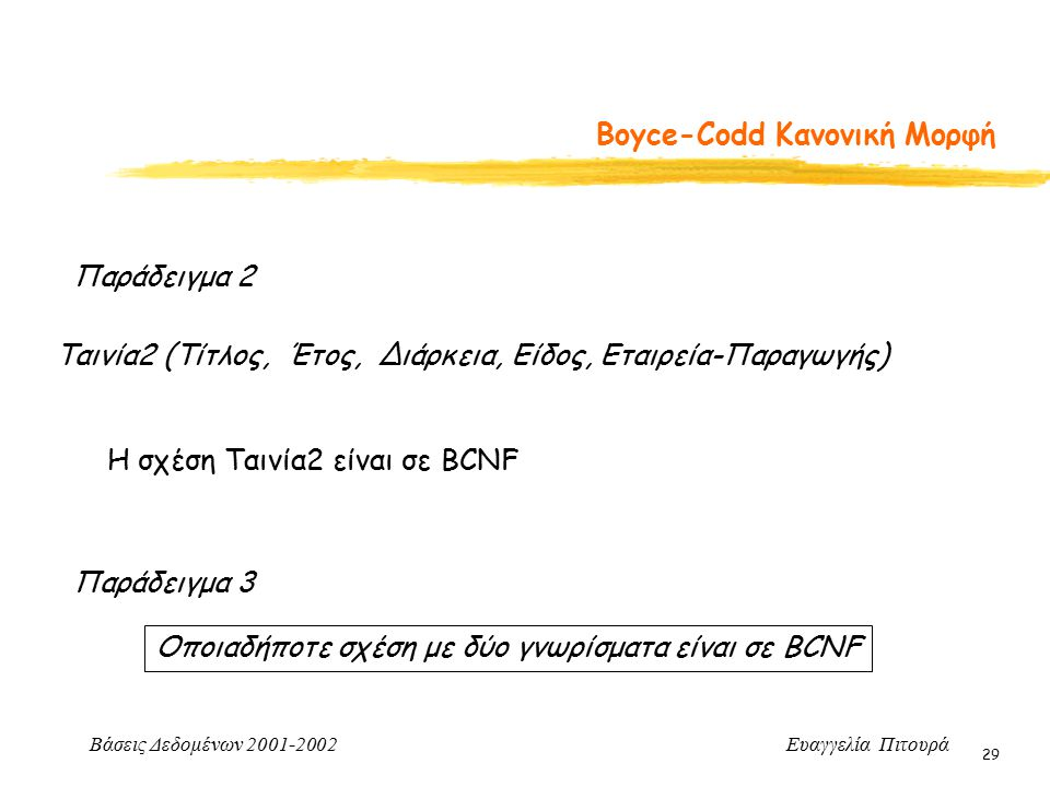Βάσεις Δεδομένων 2001-2002 Ευαγγελία Πιτουρά 29 Boyce-Codd Κανονική Μορφή Παράδειγμα 2 Ταινία2 (Τίτλος, Έτος, Διάρκεια, Είδος, Εταιρεία-Παραγωγής) Η σ