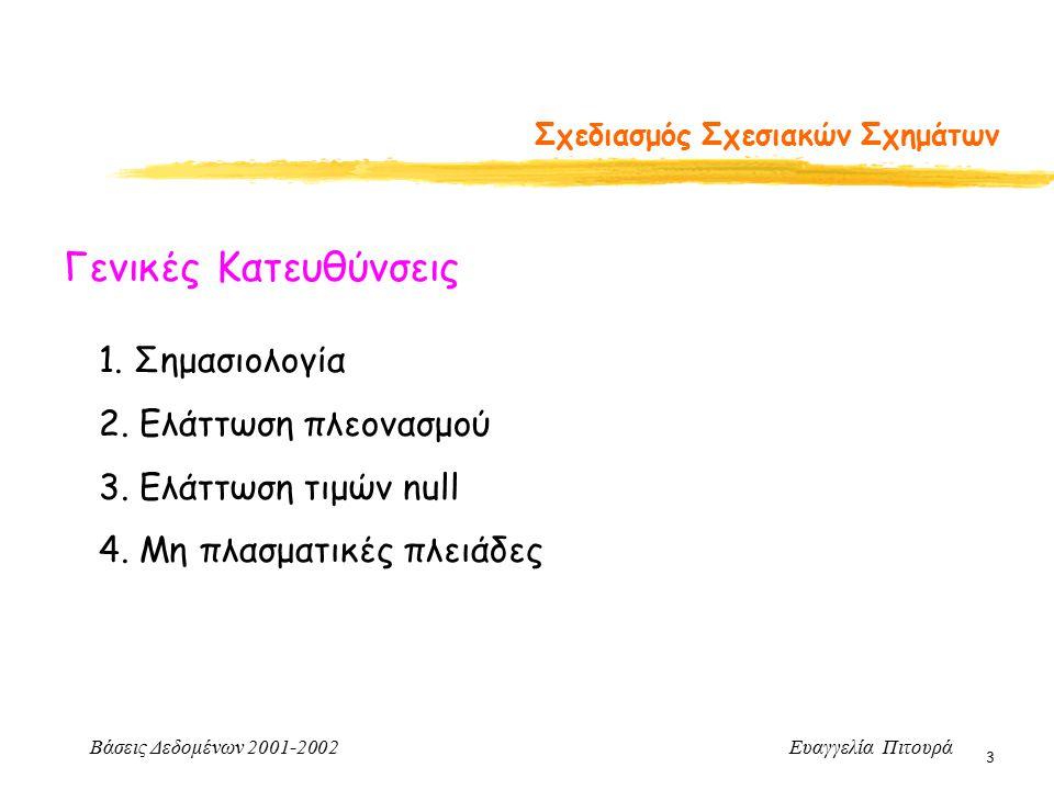 Βάσεις Δεδομένων 2001-2002 Ευαγγελία Πιτουρά 3 Σχεδιασμός Σχεσιακών Σχημάτων Γενικές Κατευθύνσεις 1. Σημασιολογία 2. Ελάττωση πλεονασμού 3. Ελάττωση τ