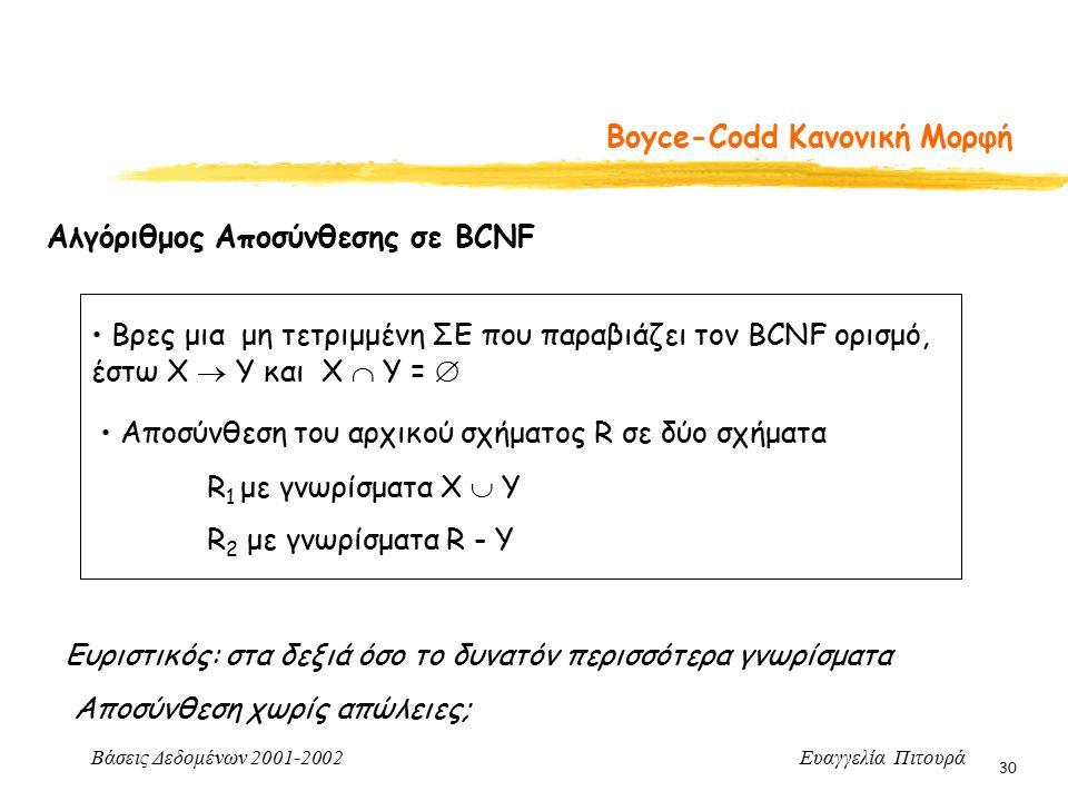 Βάσεις Δεδομένων 2001-2002 Ευαγγελία Πιτουρά 30 Boyce-Codd Κανονική Μορφή Αλγόριθμος Αποσύνθεσης σε BCNF Βρες μια μη τετριμμένη ΣΕ που παραβιάζει τον BCNF ορισμό, έστω X  Y και Χ  Υ =  Αποσύνθεση του αρχικού σχήματος R σε δύο σχήματα R 1 με γνωρίσματα Χ  Y R 2 με γνωρίσματα R - Y Ευριστικός: στα δεξιά όσο το δυνατόν περισσότερα γνωρίσματα Αποσύνθεση χωρίς απώλειες;