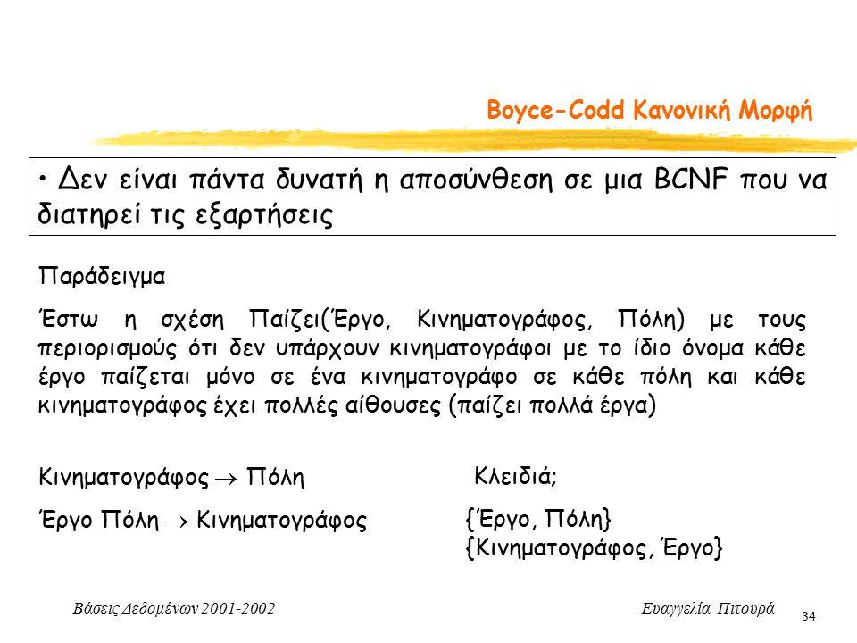Βάσεις Δεδομένων 2001-2002 Ευαγγελία Πιτουρά 34 Boyce-Codd Κανονική Μορφή Δεν είναι πάντα δυνατή η αποσύνθεση σε μια BCNF που να διατηρεί τις εξαρτήσεις Παράδειγμα Έστω η σχέση Παίζει(Έργο, Κινηματογράφος, Πόλη) με τους περιορισμούς ότι δεν υπάρχουν κινηματογράφοι με το ίδιο όνομα κάθε έργο παίζεται μόνο σε ένα κινηματογράφο σε κάθε πόλη και κάθε κινηματογράφος έχει πολλές αίθουσες (παίζει πολλά έργα) Κινηματογράφος  Πόλη Έργο Πόλη  Κινηματογράφος Κλειδιά; {Έργο, Πόλη} {Κινηματογράφος, Έργο}