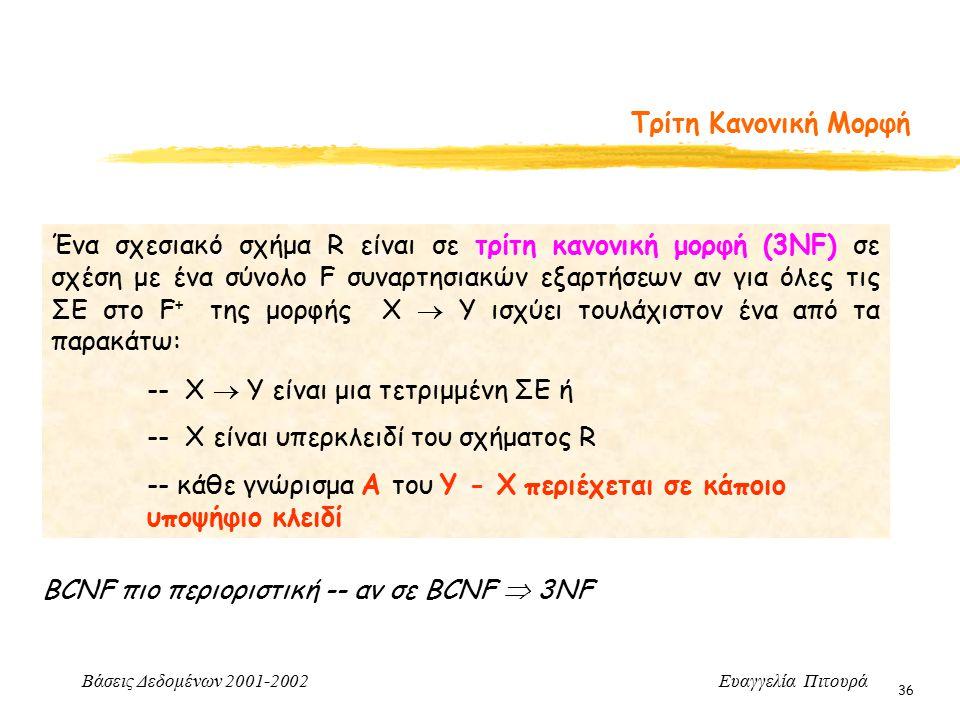 Βάσεις Δεδομένων 2001-2002 Ευαγγελία Πιτουρά 36 Τρίτη Κανονική Μορφή Ένα σχεσιακό σχήμα R είναι σε τρίτη κανονική μορφή (3ΝF) σε σχέση με ένα σύνολο F συναρτησιακών εξαρτήσεων αν για όλες τις ΣΕ στο F + της μορφής X  Y ισχύει τουλάχιστον ένα από τα παρακάτω: -- X  Y είναι μια τετριμμένη ΣΕ ή -- X είναι υπερκλειδί του σχήματος R -- κάθε γνώρισμα Α του Υ - Χ περιέχεται σε κάποιο υποψήφιο κλειδί BCNF πιο περιοριστική -- αν σε BCNF  3NF