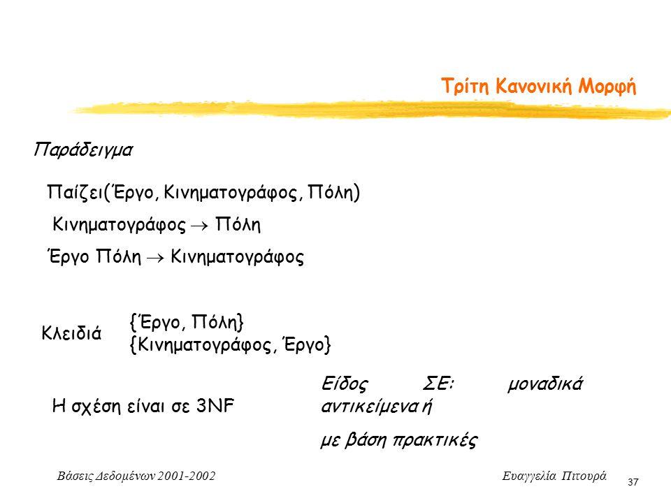 Βάσεις Δεδομένων 2001-2002 Ευαγγελία Πιτουρά 37 Τρίτη Κανονική Μορφή Παίζει(Έργο, Κινηματογράφος, Πόλη) Κινηματογράφος  Πόλη Έργο Πόλη  Κινηματογράφος Κλειδιά {Έργο, Πόλη} {Κινηματογράφος, Έργο} Η σχέση είναι σε 3NF Είδος ΣΕ: μοναδικά αντικείμενα ή με βάση πρακτικές Παράδειγμα