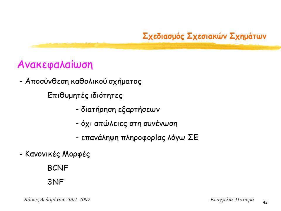 Βάσεις Δεδομένων 2001-2002 Ευαγγελία Πιτουρά 42 Σχεδιασμός Σχεσιακών Σχημάτων Ανακεφαλαίωση - Αποσύνθεση καθολικού σχήματος Επιθυμητές ιδιότητες - διατήρηση εξαρτήσεων - όχι απώλειες στη συνένωση - επανάληψη πληροφορίας λόγω ΣΕ - Κανονικές Μορφές BCNF 3NF