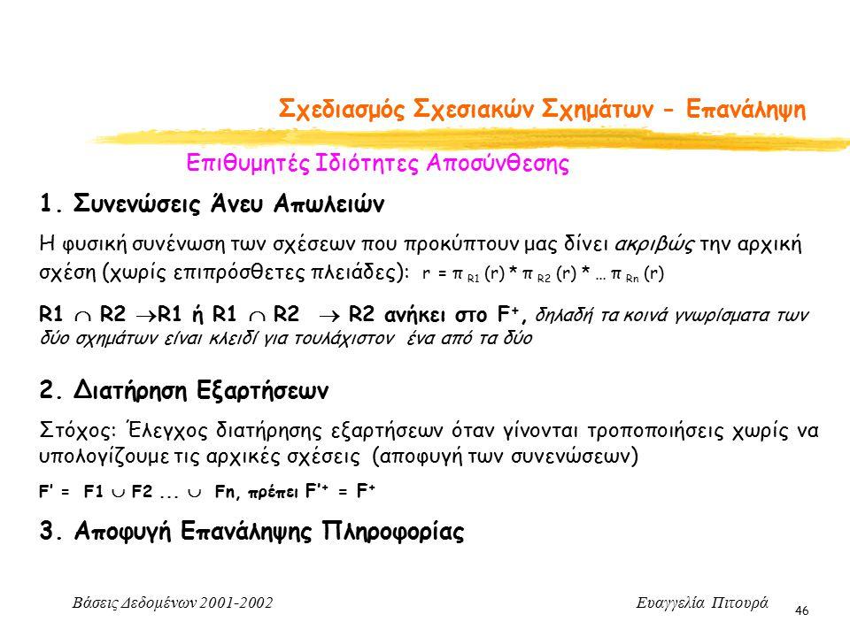 Βάσεις Δεδομένων 2001-2002 Ευαγγελία Πιτουρά 46 Σχεδιασμός Σχεσιακών Σχημάτων - Επανάληψη Επιθυμητές Ιδιότητες Αποσύνθεσης 2. Διατήρηση Εξαρτήσεων Στό