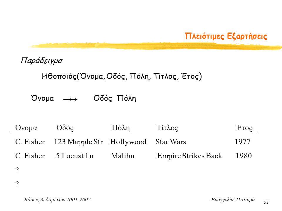 Βάσεις Δεδομένων 2001-2002 Ευαγγελία Πιτουρά 53 Πλειότιμες Εξαρτήσεις Παράδειγμα Ηθοποιός(Όνομα, Οδός, Πόλη, Τίτλος, Έτος) Όνομα Οδός Πόλη Όνομα Οδός