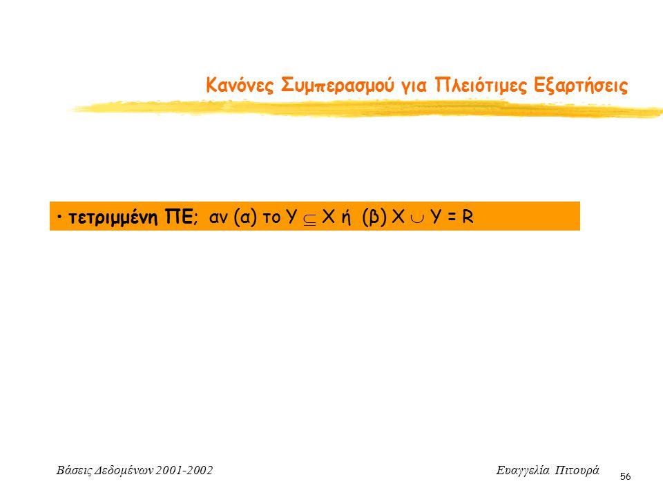 Βάσεις Δεδομένων 2001-2002 Ευαγγελία Πιτουρά 56 Κανόνες Συμπερασμού για Πλειότιμες Εξαρτήσεις τετριμμένη ΠΕ; αν (α) το Y  X ή (β) Χ  Y = R