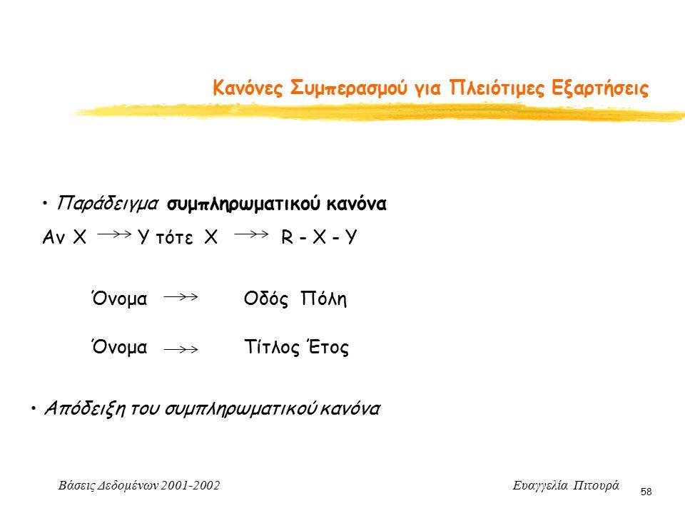 Βάσεις Δεδομένων 2001-2002 Ευαγγελία Πιτουρά 58 Κανόνες Συμπερασμού για Πλειότιμες Εξαρτήσεις Παράδειγμα συμπληρωματικού κανόνα Αν X Y τότε Χ R - X -