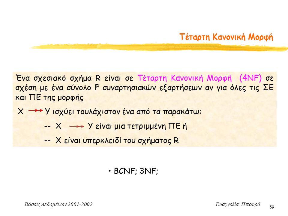 Βάσεις Δεδομένων 2001-2002 Ευαγγελία Πιτουρά 59 Τέταρτη Κανονική Μορφή Ένα σχεσιακό σχήμα R είναι σε Τέταρτη Κανονική Μορφή (4NF) σε σχέση με ένα σύνολο F συναρτησιακών εξαρτήσεων αν για όλες τις ΣΕ και ΠΕ της μορφής X Y ισχύει τουλάχιστον ένα από τα παρακάτω: -- X Y είναι μια τετριμμένη ΠΕ ή -- X είναι υπερκλειδί του σχήματος R BCNF; 3NF;