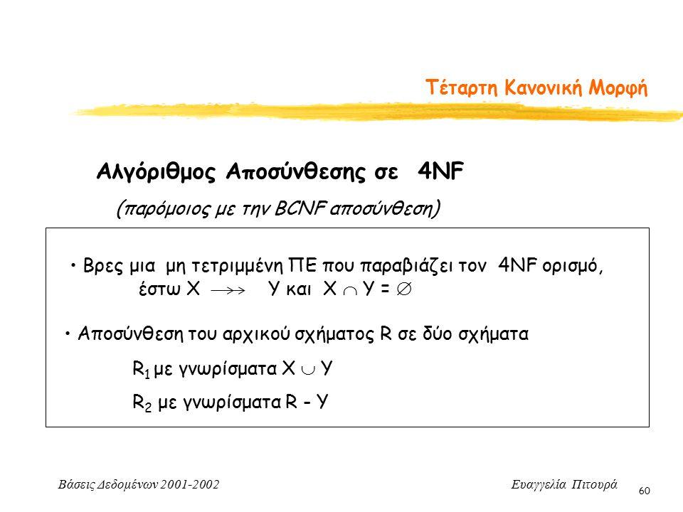 Βάσεις Δεδομένων 2001-2002 Ευαγγελία Πιτουρά 60 Τέταρτη Κανονική Μορφή Αλγόριθμος Αποσύνθεσης σε 4NF Αποσύνθεση του αρχικού σχήματος R σε δύο σχήματα