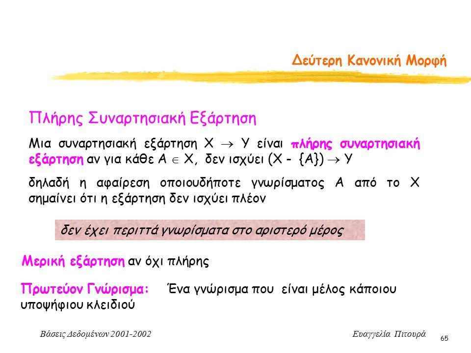 Βάσεις Δεδομένων 2001-2002 Ευαγγελία Πιτουρά 65 Δεύτερη Κανονική Μορφή Πλήρης Συναρτησιακή Εξάρτηση Μια συναρτησιακή εξάρτηση Χ  Υ είναι πλήρης συναρτησιακή εξάρτηση αν για κάθε Α  Χ, δεν ισχύει (Χ - {Α})  Υ δηλαδή η αφαίρεση οποιουδήποτε γνωρίσματος Α από το Χ σημαίνει ότι η εξάρτηση δεν ισχύει πλέον δεν έχει περιττά γνωρίσματα στο αριστερό μέρος Μερική εξάρτηση αν όχι πλήρης Πρωτεύον Γνώρισμα: Ένα γνώρισμα που είναι μέλος κάποιου υποψήφιου κλειδιού