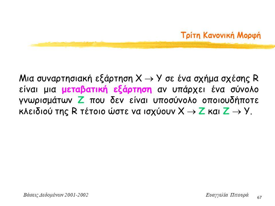 Βάσεις Δεδομένων 2001-2002 Ευαγγελία Πιτουρά 67 Τρίτη Κανονική Μορφή Μια συναρτησιακή εξάρτηση Χ  Υ σε ένα σχήμα σχέσης R είναι μια μεταβατική εξάρτηση αν υπάρχει ένα σύνολο γνωρισμάτων Z που δεν είναι υποσύνολο οποιουδήποτε κλειδιού της R τέτοιο ώστε να ισχύουν Χ  Ζ και Ζ  Υ.