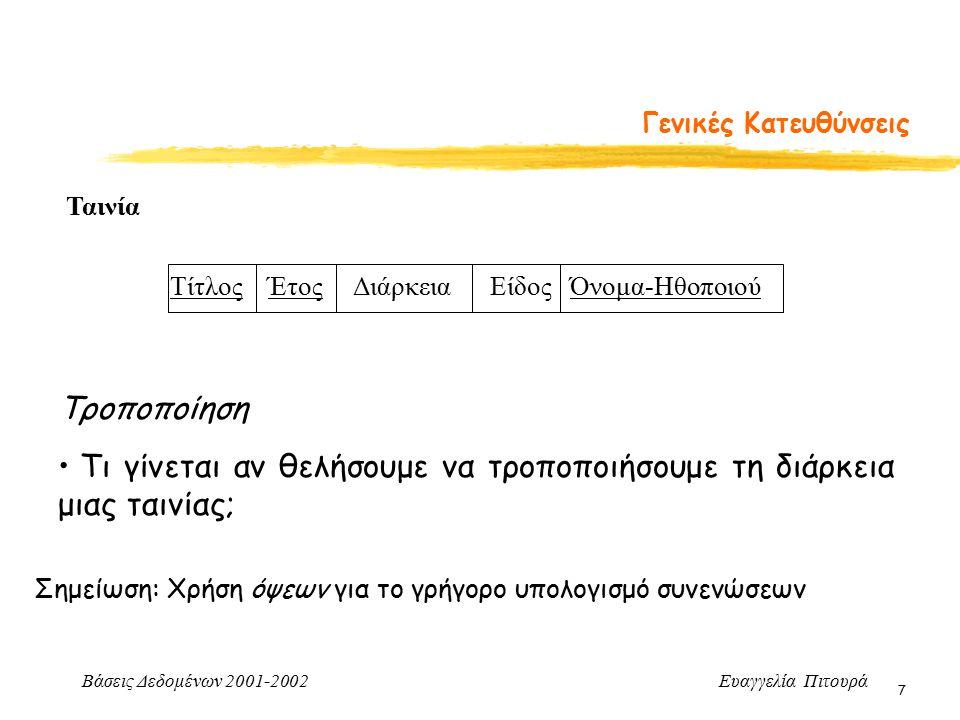 Βάσεις Δεδομένων 2001-2002 Ευαγγελία Πιτουρά 48 Σχεδιασμός Σχεσιακών Σχημάτων -Επανάληψη Αποφυγή επανάληψης πληροφορίας ναι όχι πάντα Αποσύνθεση χωρίς απώλειες στη συνένωση ναι ναι Διατήρηση εξαρτήσεων όχι πάντα ναι BCNF 3NF