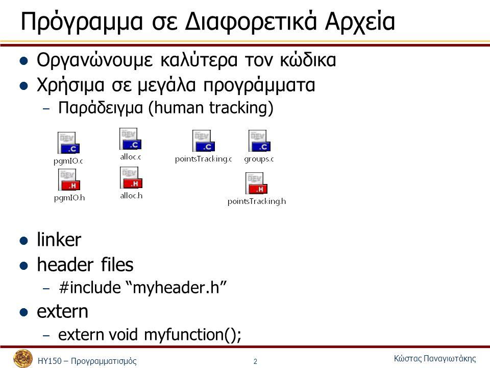 ΗΥ150 – Προγραμματισμός Κώστας Παναγιωτάκης 2 Πρόγραμμα σε Διαφορετικά Αρχεία Οργανώνουμε καλύτερα τον κώδικα Χρήσιμα σε μεγάλα προγράμματα – Παράδειγ