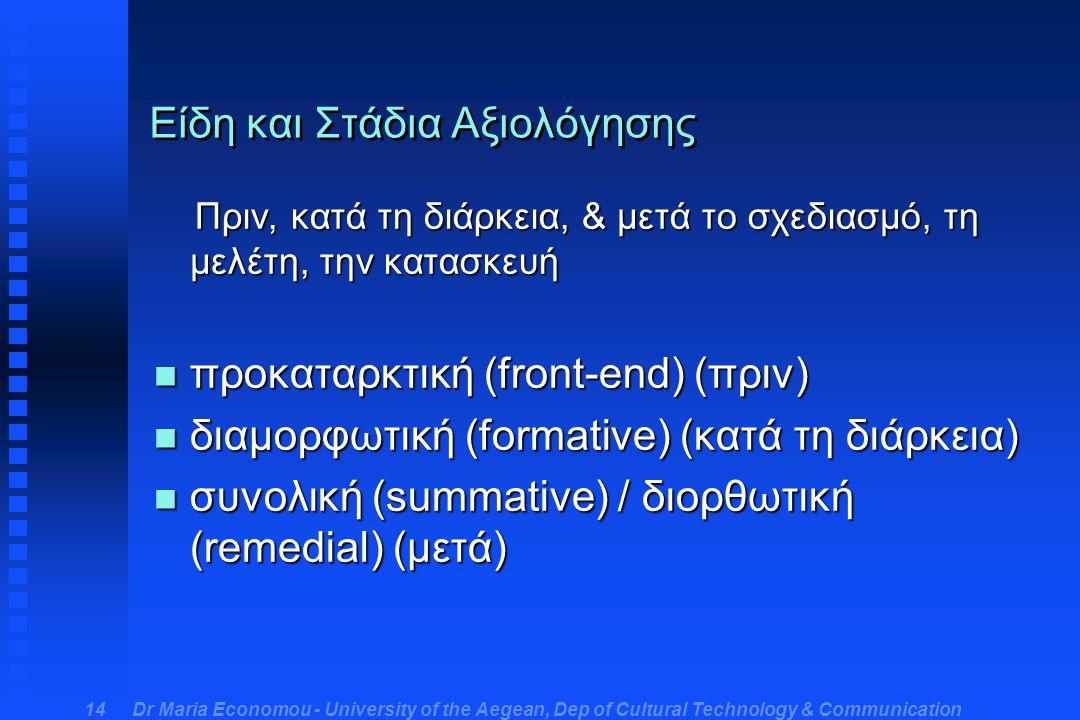 Dr Maria Economou - University of the Aegean, Dep of Cultural Technology & Communication 14 Είδη και Στάδια Αξιολόγησης Πριν, κατά τη διάρκεια, & μετά το σχεδιασμό, τη μελέτη, την κατασκευή Πριν, κατά τη διάρκεια, & μετά το σχεδιασμό, τη μελέτη, την κατασκευή n προκαταρκτική (front-end) (πριν) n διαμορφωτική (formative) (κατά τη διάρκεια) n συνολική (summative) / διορθωτική (remedial) (μετά)