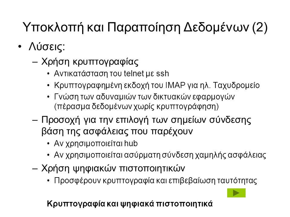 Υποκλοπή και Παραποίηση Δεδομένων (2) Λύσεις: –Χρήση κρυπτογραφίας Αντικατάσταση του telnet με ssh Κρυπτογραφημένη εκδοχή του IMAP για ηλ.