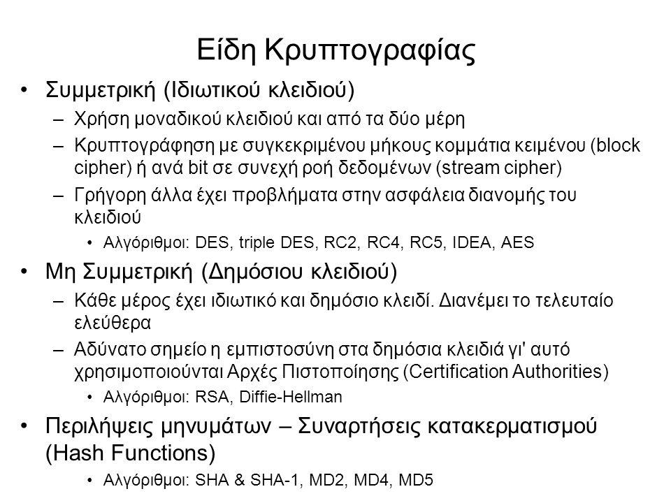 Είδη Κρυπτογραφίας Συμμετρική (Ιδιωτικού κλειδιού) –Χρήση μοναδικού κλειδιού και από τα δύο μέρη –Κρυπτογράφηση με συγκεκριμένου μήκους κομμάτια κειμένου (block cipher) ή ανά bit σε συνεχή ροή δεδομένων (stream cipher) –Γρήγορη άλλα έχει προβλήματα στην ασφάλεια διανομής του κλειδιού Αλγόριθμοι: DES, triple DES, RC2, RC4, RC5, IDEA, AES Μη Συμμετρική (Δημόσιου κλειδιού) –Κάθε μέρος έχει ιδιωτικό και δημόσιο κλειδί.