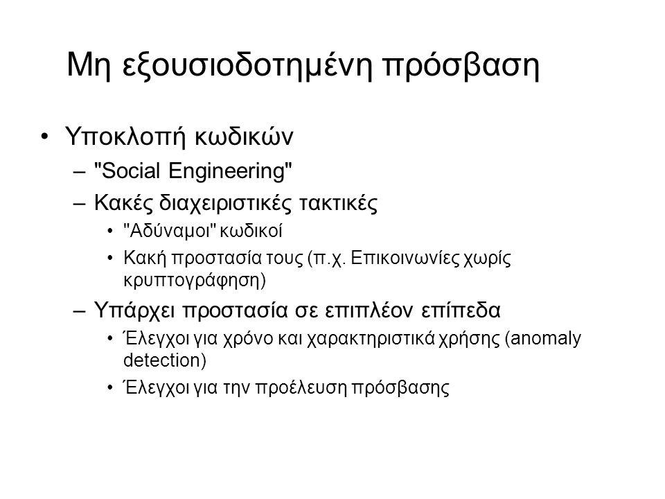 Μη εξουσιοδοτημένη πρόσβαση Υποκλοπή κωδικών – Social Engineering –Κακές διαχειριστικές τακτικές Αδύναμοι κωδικοί Κακή προστασία τους (π.χ.