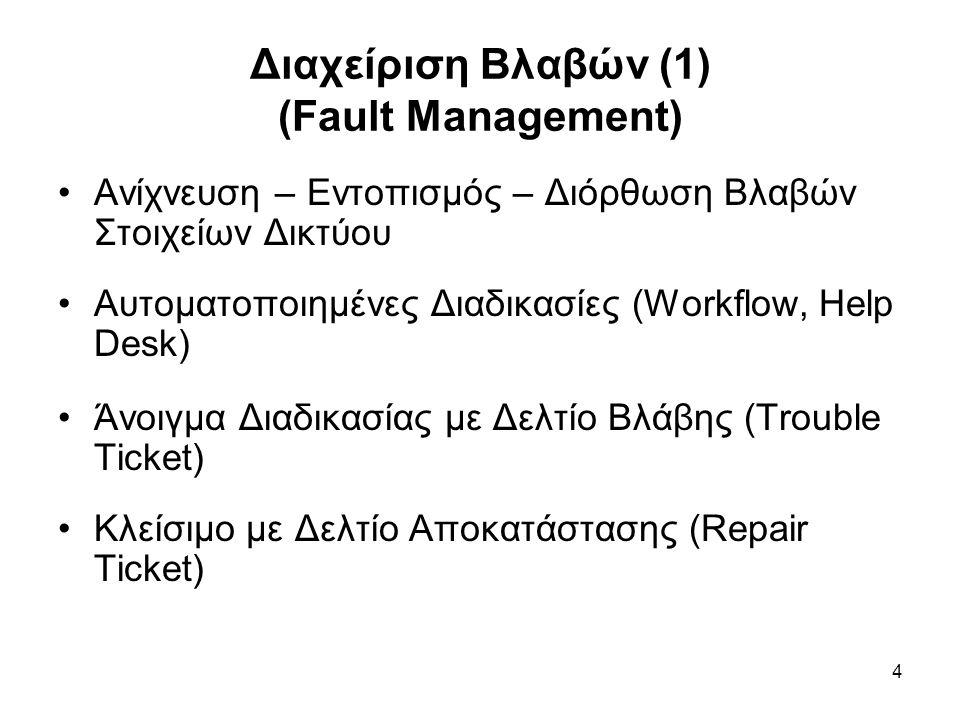 4 Διαχείριση Βλαβών (1) (Fault Management) Ανίχνευση – Εντοπισμός – Διόρθωση Βλαβών Στοιχείων Δικτύου Αυτοματοποιημένες Διαδικασίες (Workflow, Help Desk) Άνοιγμα Διαδικασίας με Δελτίο Βλάβης (Trouble Ticket) Κλείσιμο με Δελτίο Αποκατάστασης (Repair Ticket)