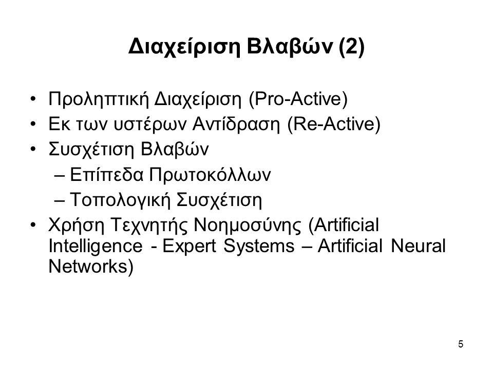 5 Διαχείριση Βλαβών (2) Προληπτική Διαχείριση (Pro-Active) Εκ των υστέρων Αντίδραση (Re-Active) Συσχέτιση Βλαβών –Επίπεδα Πρωτοκόλλων –Τοπολογική Συσχέτιση Χρήση Τεχνητής Νοημοσύνης (Artificial Intelligence - Expert Systems – Artificial Neural Networks)