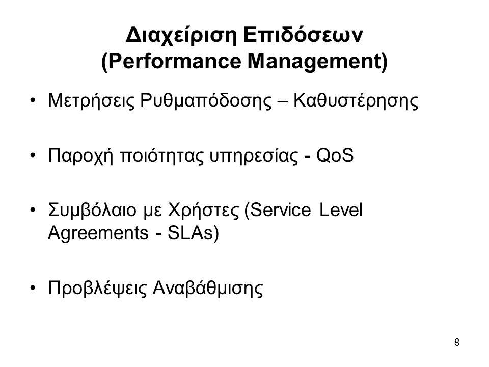 8 Διαχείριση Επιδόσεων (Performance Management) Μετρήσεις Ρυθμαπόδοσης – Καθυστέρησης Παροχή ποιότητας υπηρεσίας - QoS Συμβόλαιο με Χρήστες (Service Level Agreements - SLAs) Προβλέψεις Αναβάθμισης