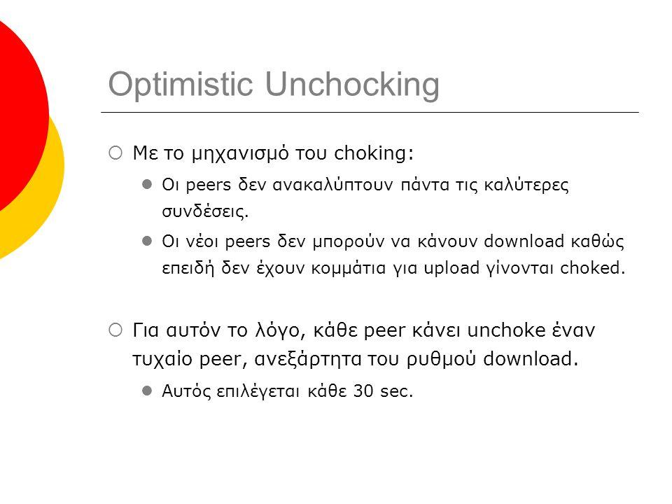 Optimistic Unchocking  Με το μηχανισμό του choking: Οι peers δεν ανακαλύπτουν πάντα τις καλύτερες συνδέσεις.