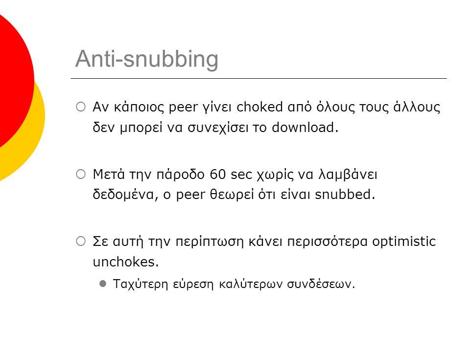 Anti-snubbing  Αν κάποιος peer γίνει choked από όλους τους άλλους δεν μπορεί να συνεχίσει το download.