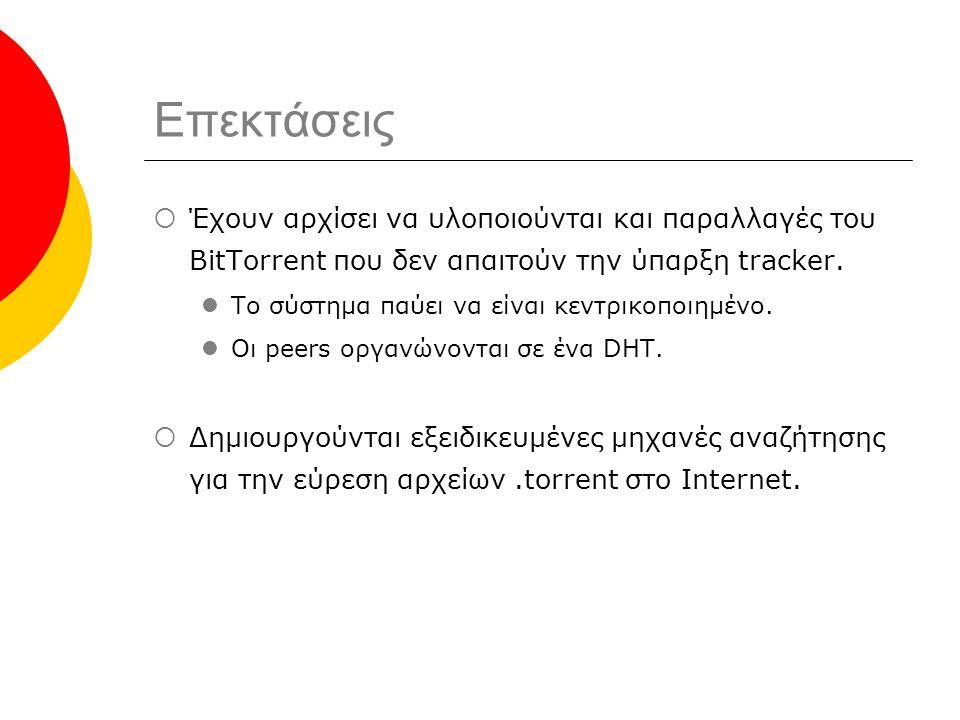 Επεκτάσεις  Έχουν αρχίσει να υλοποιούνται και παραλλαγές του BitTorrent που δεν απαιτούν την ύπαρξη tracker.