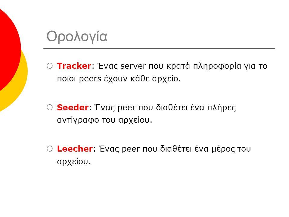 Ορολογία  Tracker: Ένας server που κρατά πληροφορία για το ποιοι peers έχουν κάθε αρχείο.