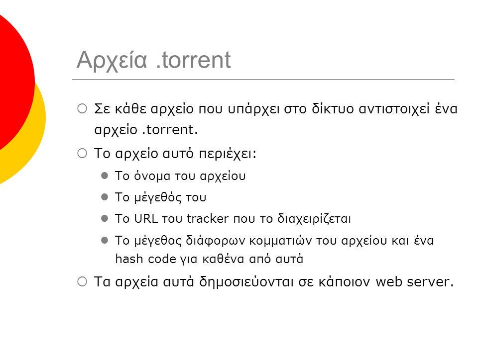 Αρχεία.torrent  Σε κάθε αρχείο που υπάρχει στο δίκτυο αντιστοιχεί ένα αρχείο.torrent.