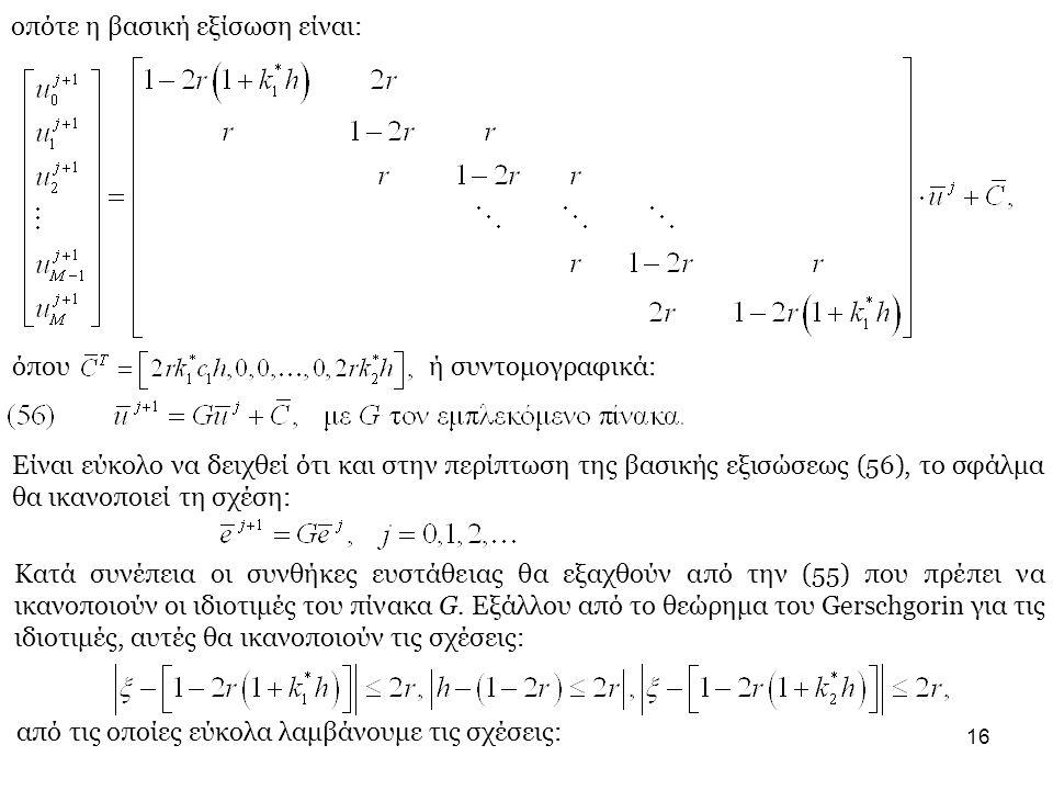 16 οπότε η βασική εξίσωση είναι: όπου ή συντομογραφικά: Είναι εύκολο να δειχθεί ότι και στην περίπτωση της βασικής εξισώσεως (56), το σφάλμα θα ικανοποιεί τη σχέση: Κατά συνέπεια οι συνθήκες ευστάθειας θα εξαχθούν από την (55) που πρέπει να ικανοποιούν οι ιδιοτιμές του πίνακα G.