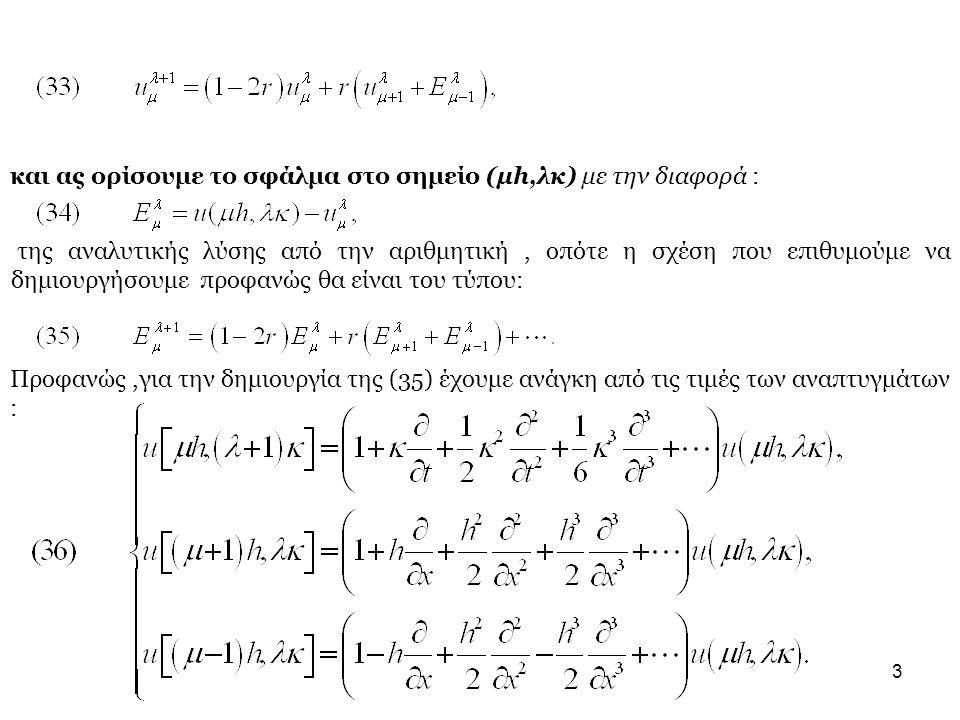 3 και ας ορίσουμε το σφάλμα στο σημείο (μh,λκ) με την διαφορά : της αναλυτικής λύσης από την αριθμητική, οπότε η σχέση που επιθυμούμε να δημιουργήσουμε προφανώς θα είναι του τύπου: Προφανώς,για την δημιουργία της (35) έχουμε ανάγκη από τις τιμές των αναπτυγμάτων :