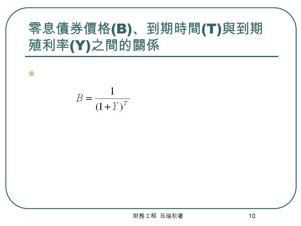 財務工程 呂瑞秋著 10 零息債券價格 (B) 、到期時間 (T) 與到期 殖利率 (Y) 之間的關係
