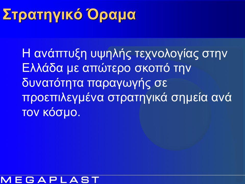 Στρατηγικό Όραμα Η ανάπτυξη υψηλής τεχνολογίας στην Ελλάδα με απώτερο σκοπό την δυνατότητα παραγωγής σε προεπιλεγμένα στρατηγικά σημεία ανά τον κόσμο.