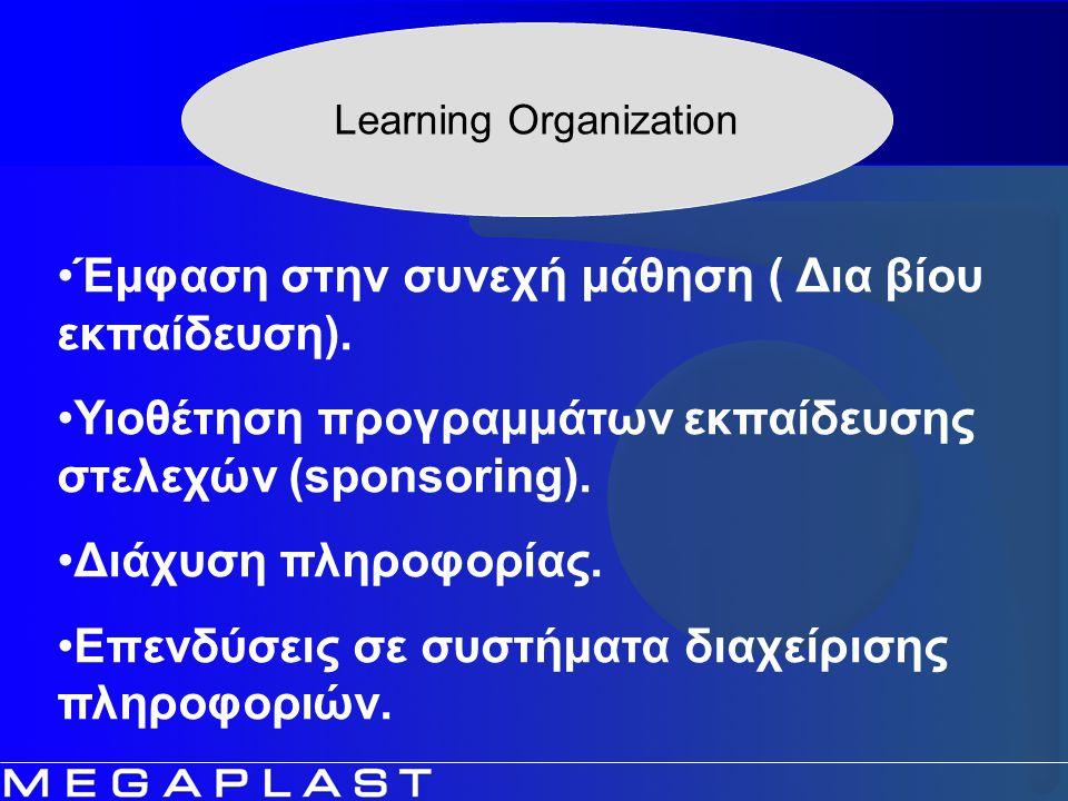 Learning Organization Έμφαση στην συνεχή μάθηση ( Δια βίου εκπαίδευση). Υιοθέτηση προγραμμάτων εκπαίδευσης στελεχών (sponsoring). Διάχυση πληροφορίας.
