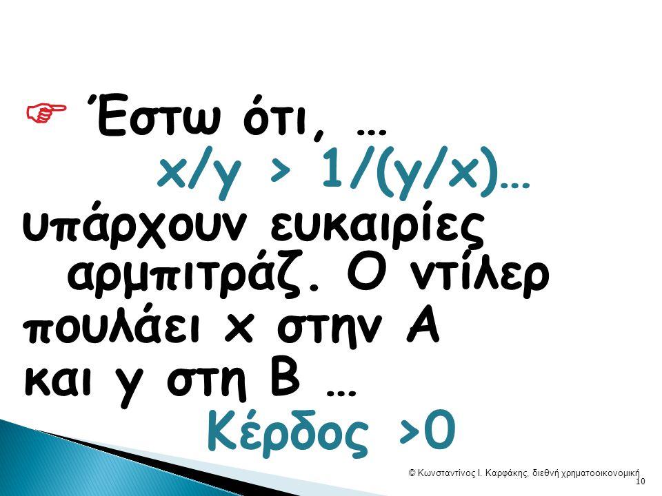  Έστω ότι, … x/y > 1/(y/x)… υπάρχουν ευκαιρίες αρμπιτράζ.