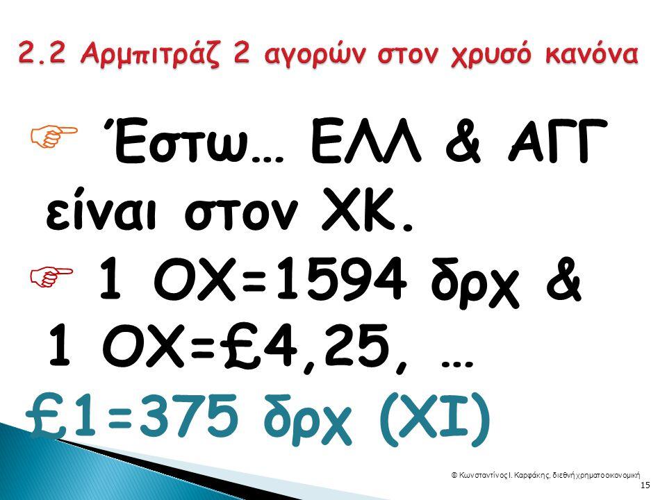  Έστω… ΕΛΛ & ΑΓΓ είναι στον ΧΚ.  1 ΟΧ=1594 δρχ & 1 ΟΧ=£4,25, … £1=375 δρχ (ΧΙ) © Κωνσταντίνος Ι.