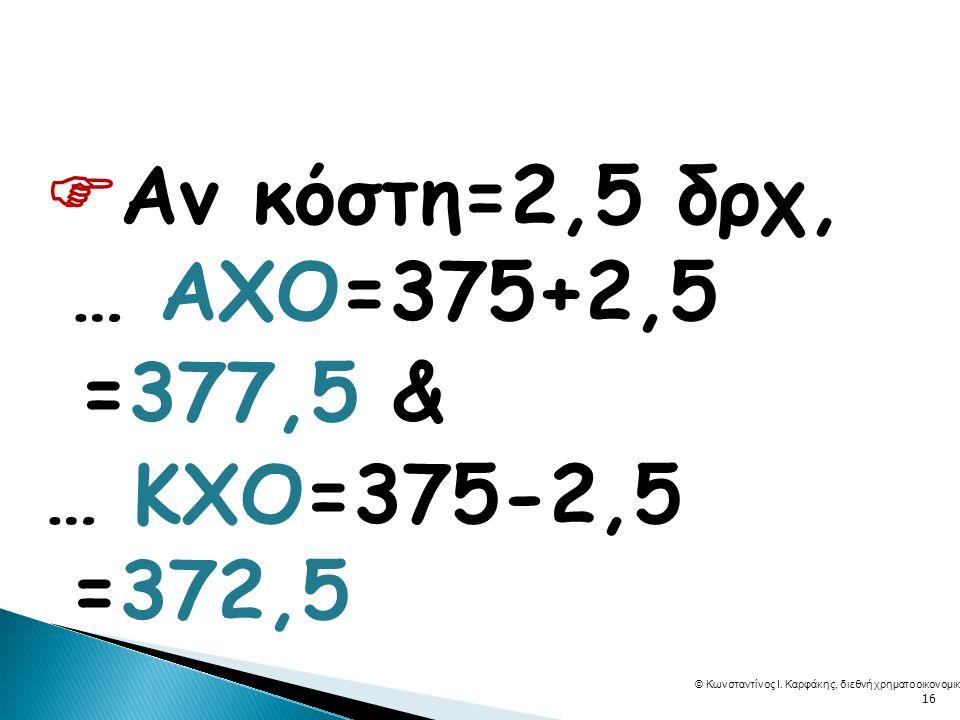  Αν κόστη=2,5 δρχ, … ΑΧΟ=375+2,5 =377,5 & … ΚΧΟ=375-2,5 =372,5 © Κωνσταντίνος Ι.
