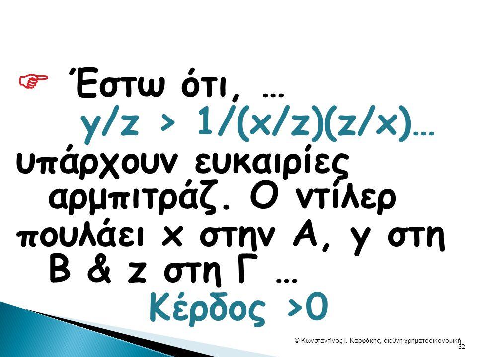  Έστω ότι, … y/z > 1/(x/z)(z/x)… υπάρχουν ευκαιρίες αρμπιτράζ.