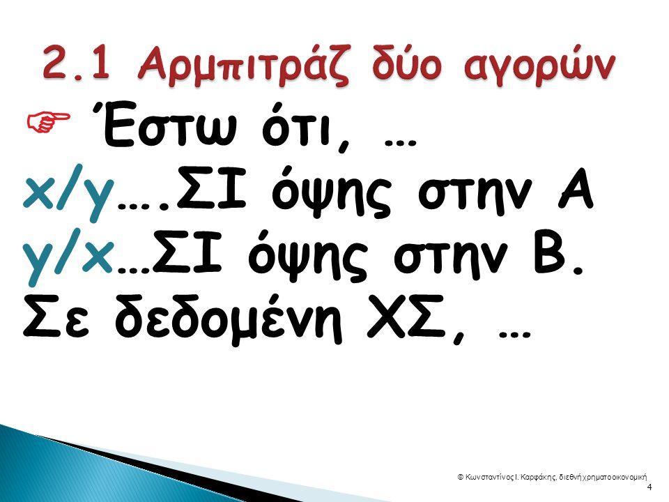  Έστω ότι, … x/y….ΣΙ όψης στην Α y/x…ΣΙ όψης στην Β.