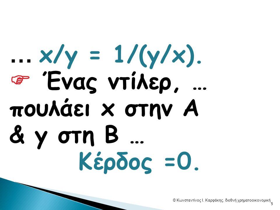 … x/y = 1/(y/x).  Ένας ντίλερ, … πουλάει x στην A & y στη Β … Κέρδος =0. © Κωνσταντίνος Ι. Καρφάκης, διεθνή χρηματοοικονομική 5