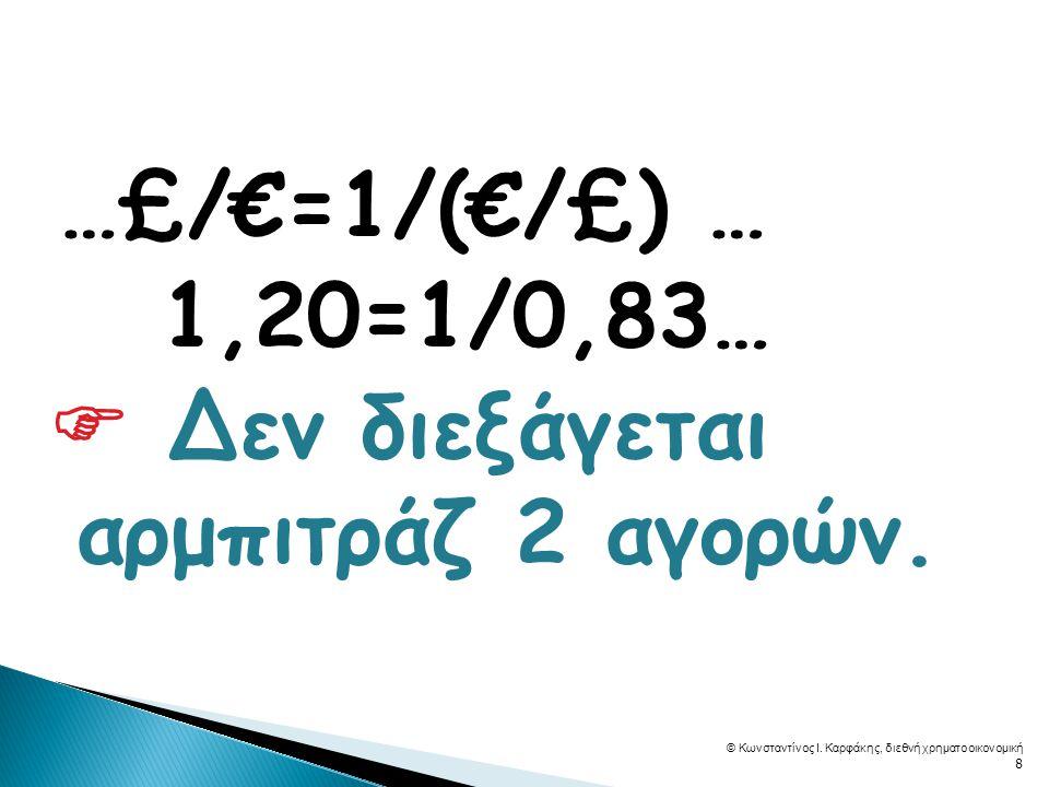  …£/€=1/(€/£) … 1,20=1/0,83…  Δεν διεξάγεται αρμπιτράζ 2 αγορών.
