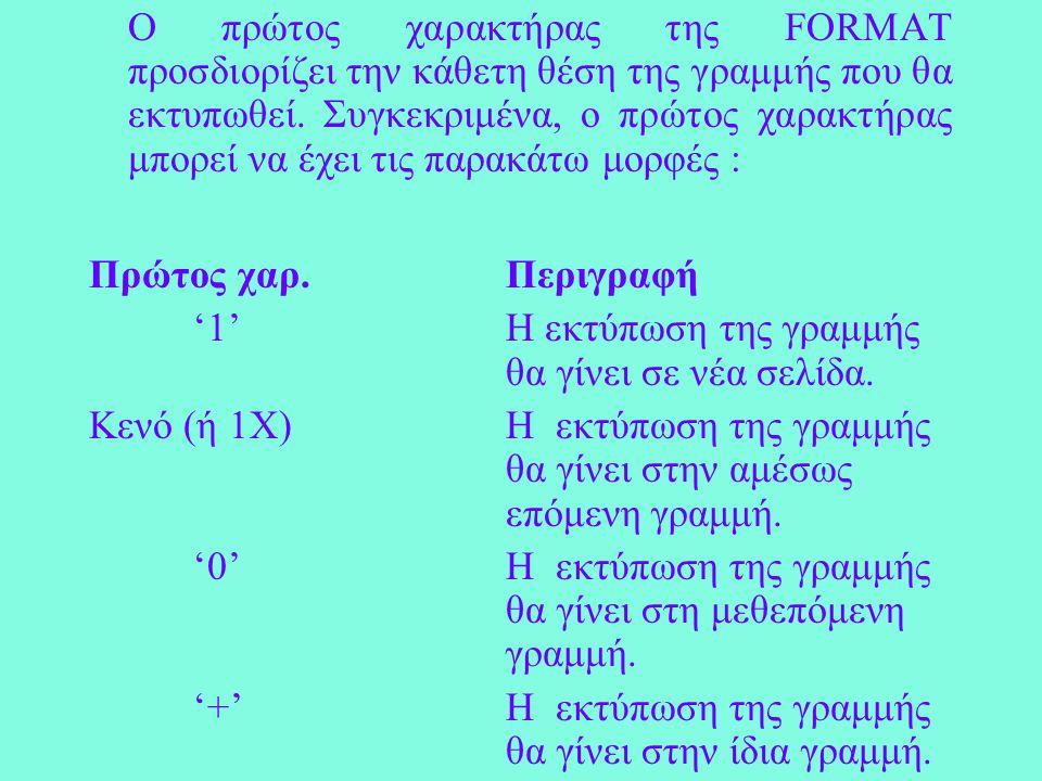 Ο πρώτος χαρακτήρας της FORMAT προσδιορίζει την κάθετη θέση της γραμμής που θα εκτυπωθεί.